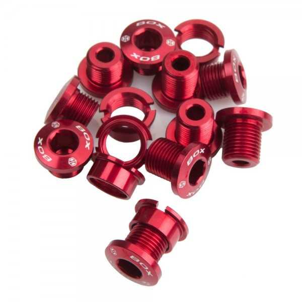 Box One 7075 Alloy Chainring Bolts Red