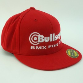 """Bullseye """"BMX For Life"""" Fitted Hat RED / WHITE"""