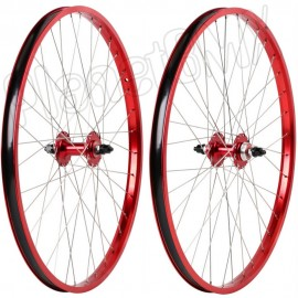 "26""x1.75"" Haro Sealed Bearing Alloy Wheelset RED"