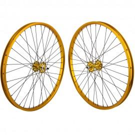 """26""""x1.75"""" SE Racing Sealed Bearing Wheelset GOLD"""