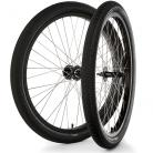 "26""x1.75"" S&M / FIT Sealed Bearing Alloy Wheelset w/ Tires BLACK Hubs & Rims"