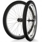 """26""""x1.75"""" S&M / FIT Sealed Bearing Alloy Wheelset w/ Tires BLACK Hubs / SILVER Rims"""