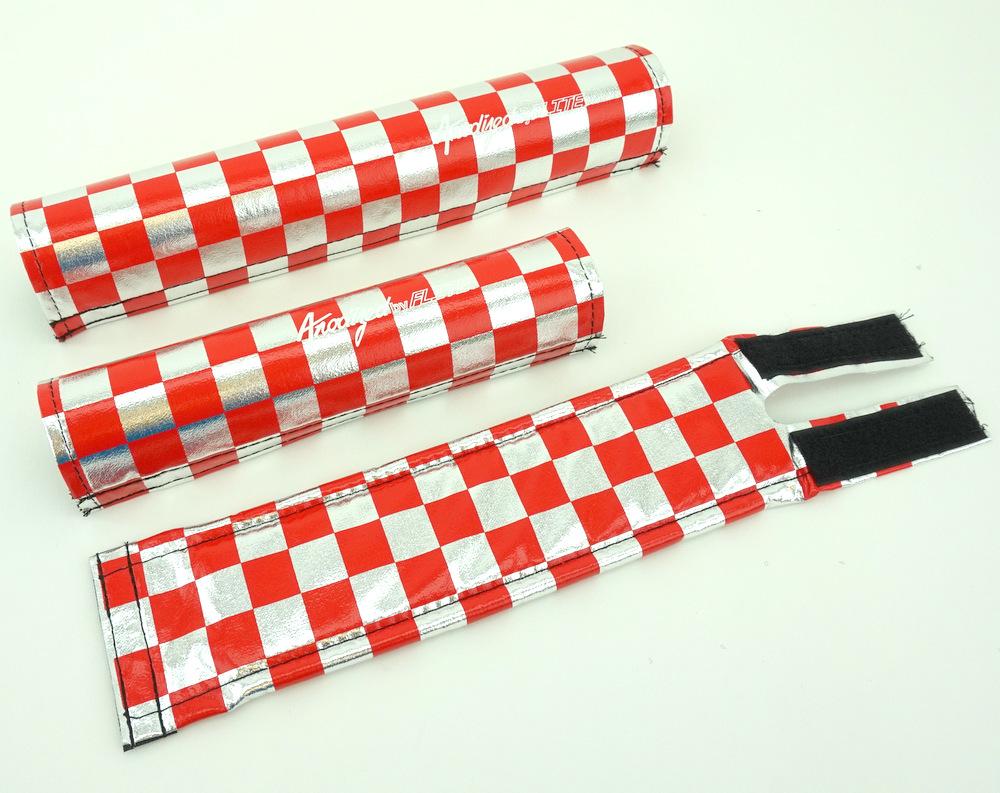 Old School BMX Flite BMX Pad Set Checker Red /& Chrome