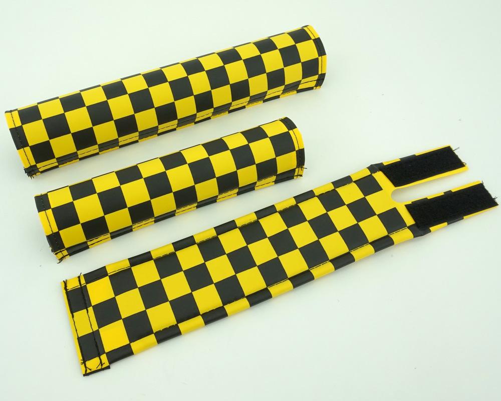 Flite BMX Pad Set Checker Yellow /& Black Old School Retro BMX
