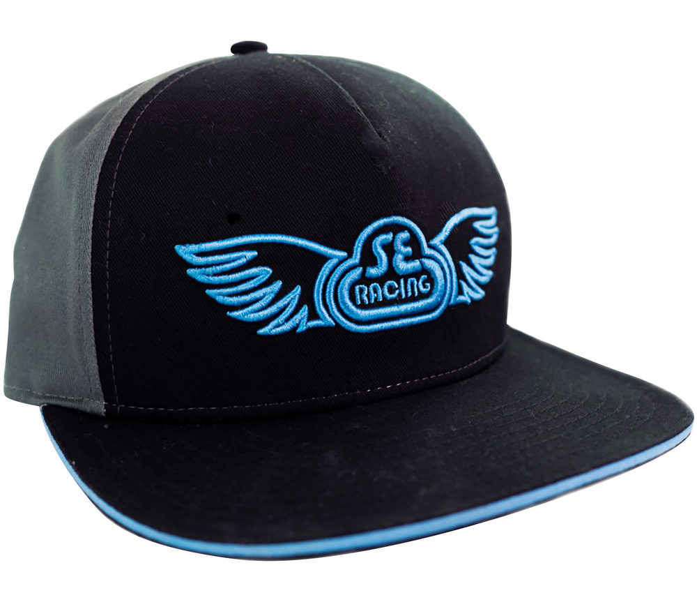 se racing wing logo hat black gray planet bmx